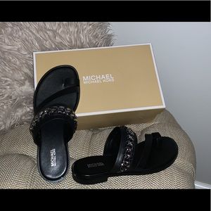 Michael Kors Sandal black with silver chain link